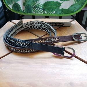 Nine West Black & Brown Belt Set
